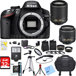 D3200 24.2MP Digital SLR Camera w/ 18-55mm & 55-200mm VR Lenses Ultimate Bundle