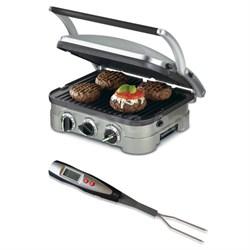 GR-4N 5-in-1 Griddler with Cuisinart Digital Thermometer Fork Bundle