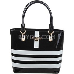 Striped Tote Bag with Silver Fashion Hardware in Black/White