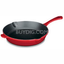 CI22-24CR - Chef's Classic Enameled Cast Iron 10-Inch Round Fry Pan, Red