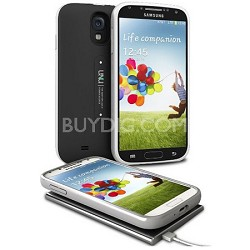 Aero Battery Case Cover with Wireless Charging Mat for Galaxy S4 - Black/Silver