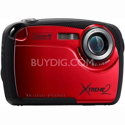 "16MP Waterproof Digital Camera with 2.5"" LCD Screen HD Video (Red) C12WP-R"
