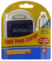 Digital Concepts AC/DC Rapid battery charger for Pan CGA-005 and Fuji NP-70