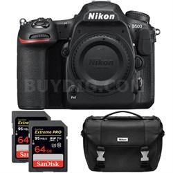D500 20.9 MP DX Format DSLR Camera (Body) Dual Pro Memory Card and Case Bundle