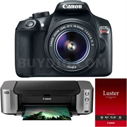 EOS Rebel T6 Digital SLR Camera w/ EF-S 18-55mm IS II Lens PIXMA Printer Bundle