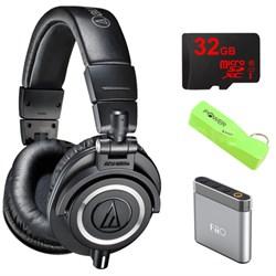 ATH-M50X Professional Studio Black Headphone w/ Powerbank, 32gb Micro SD & Amp