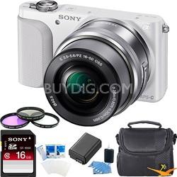 NEX-3NL Digital Camera with 16-50mm Lens (White) Essentials Bundle