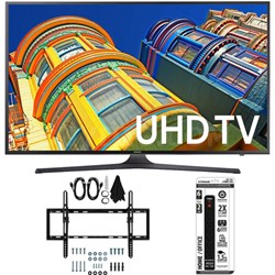 UN50KU6300 - 50-Inch 4K UHD HDR Smart LED TV w/ Tilt Wall Mount Bundle