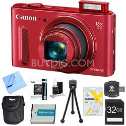 "PowerShot SX610 HS 20.2 MP Digital Camera 18x Zoom 3"" LCD Red 32GB Super Bundle"