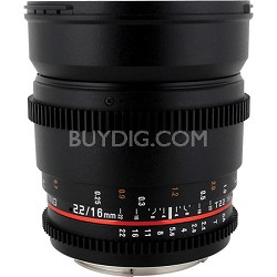 "16mm T2.2 ""Cine"" IF ED Wide-Angle Lens for Micro 4/3 VDSLR"