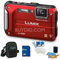 Lumix DMC-TS3 Red Shockproof Freezeproof Dustproof Camera 4GB Bundle