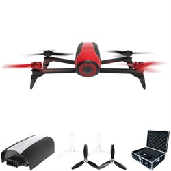 Bebop 2 Quadcopter Drone with HD 14MP Flight Camera (Red) All Inclusive Pack