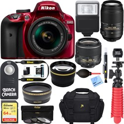 D3400 DSLR Camera w/ AF-P DX 18-55mm & 55-200mm VR Lens Accessory Bundle