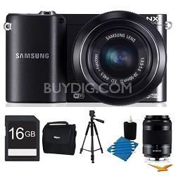 NX1100 20.3MP Black Smart Digital Camera with 20-50mm & 50-200mm 16GB Bundle