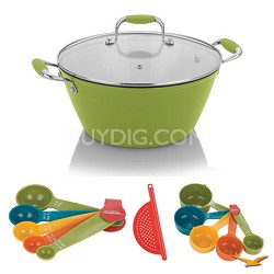 Cast Iron Yellow Lite Soup Pot with Lid, Measuring Sets and Drainer Bundle
