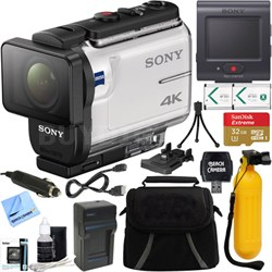 FDR-X3000R 4K Action Camera w/ Live View Remote + 64GB Memory & Accessory Bundle