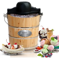 Elite Gourmet Old Fashioned Pine Bucket Electric/Manual Ice Cream Maker
