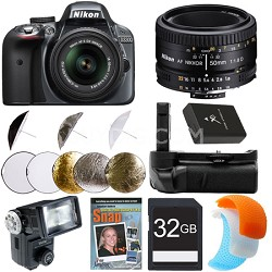 D3300 DSLR HD Grey Digital Camera Portrait Photographer Bundle
