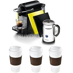 Pixie Clip Black/Lemon Neon Espresso Machine Reusable To Go Mug 3-Pack Bundle