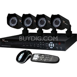 4 Channel H.264 DVR w/Internet -  500GB HD, 4 Cameras, iPhone Compatible