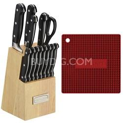 Square Silicone Trivet/Pot Holder (Red) and 14-Piece Block Knife Set Bundle