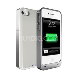 Power DX PLUS Protective Battery Case - iPhone 4S & 4 (White/Silver) 2400MAH