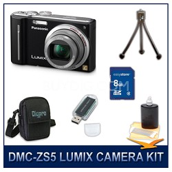DMC-ZS5K LUMIX 12.1 MP Digital Camera (Black), 8GB SD Card, and Camera Case