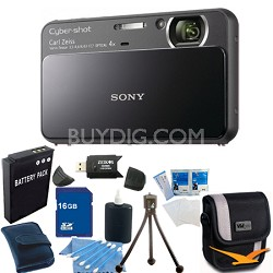 Cyber-shot DSC-T110 Black Touchscreen Digital Camera 16GB Bundle