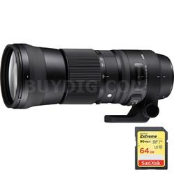 150-600mm F5-6.3 DG OS HSM Zoom Lens for Nikon DSLR Cameras w/64GB Memory Card