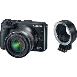 EOS M3 Mirrorless Black Digital Camera w/ 18-55mm Lens + EF-M Lens Adapter Kit