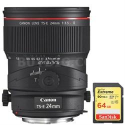 TS-E 24mm f/3.5L II Ultra-Wide Tilt-Shift Manual Focus Lens w/ 64GB Memory Card