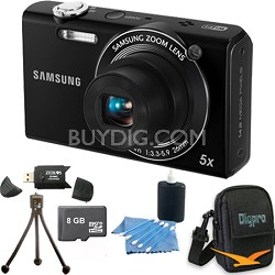 SH100 Black Digital Camera 8 GB Bundle