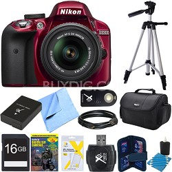 D3300 DSLR 24.2 MP HD 1080p Camera 18-55mm Lens Refurbished 16gb Bundle