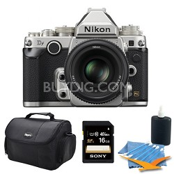 Df Full-Frame Digital SLR Camera with 50mm f/1.8 Special Edition Lens Silver Kit