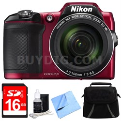 COOLPIX L840 16MP 38x Opt Zoom Digital Camera 16GB Accessory Bundle - Red