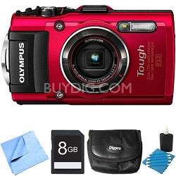 TG-4 16MP 1080p HD Waterproof Digital Camera Red 8GB Memory Card Bundle