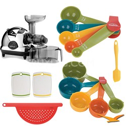 NJE-3570U Masticating Slow Juicer, Chrome Deluxe Bundle