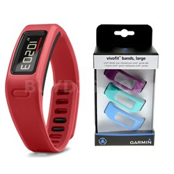 Vivofit Fitness Band Bundle with Heart Rate Monitor (Red) (010-01225-38)