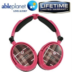 Extreme Noise Cancelling Foldable Headphones (Pink Plaid)