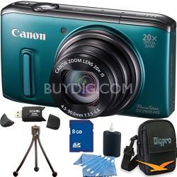 PowerShot SX260 HS Green Digital Camera 8GB Bundle