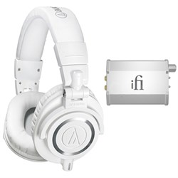 Professional Studio Headphones White ATH-M50xWH w/ iFi Audio Port. Headphone Amp