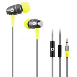 In-Ear Headphones with Mic - Grey/Yellow