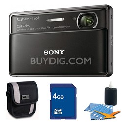Cyber-shot DSC-TX100V Black Digital Camera 4GB bundle