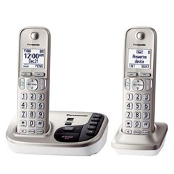 "1.6"" LCD CordlssPhone in White with 2 Handsets - KX-TGD222N"