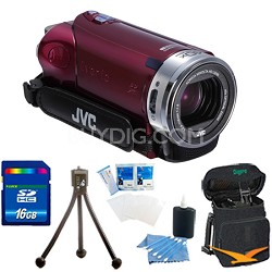 "GZ-E200RUS HD Everio Camcorder f1.8 40x Zoom 3"" Touchscreen (Red) w/ 16GB Bundle"