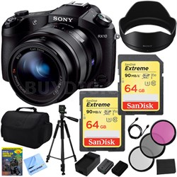 Cyber-shot DSC-RX10 Digital Camera w/ 2 64 GB SDXC + 2 1080mAh Batteries Bundle