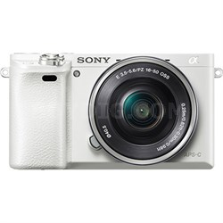 Alpha a6000 White Interchangeable Lens Camera with 16-50mm - ***AS IS***