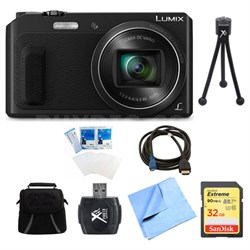 LUMIX DMC-ZS45 20X Zoom Black Digital Camera 32GB Bundle