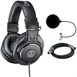 ATH-M30x Professional Headphones w/ Pop Filter Bundle