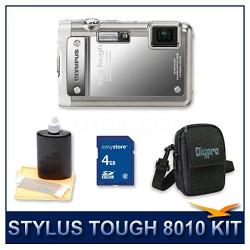 Stylus Tough 8010 Waterproof Shockproof Digital Camera (Silver) w/ 4 GB Memory